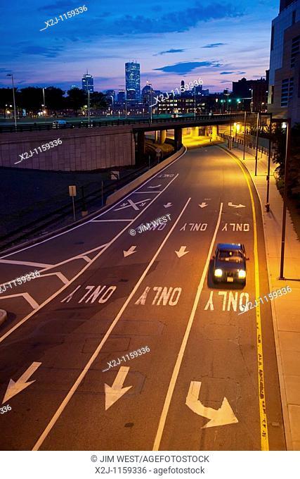 Boston, Massachusetts - A car on a freeway exit ramp in South Boston