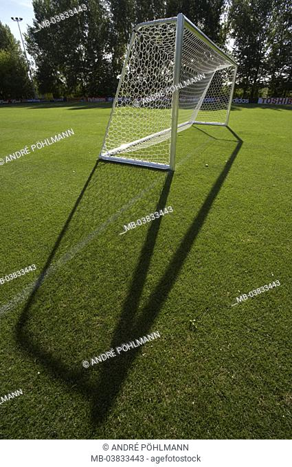 Soccer ground, game surface, gate, shadows,   Sport, team sport, lawn sport, football, playing field, game field, soccer field, Torraum, football lawns, grass