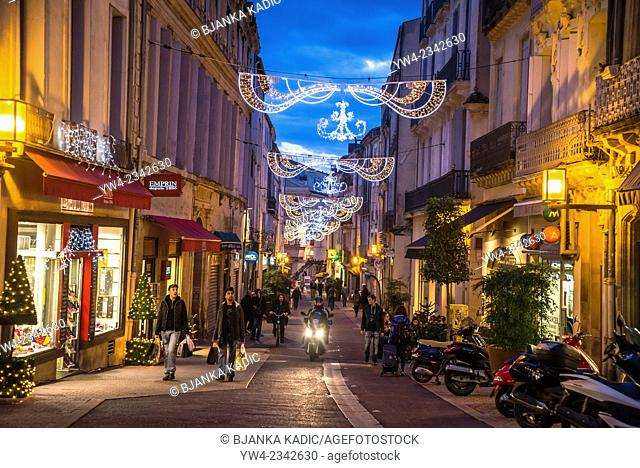 Street in central Montpellier with Christmas Decorations, Saint Guilhem Street, France