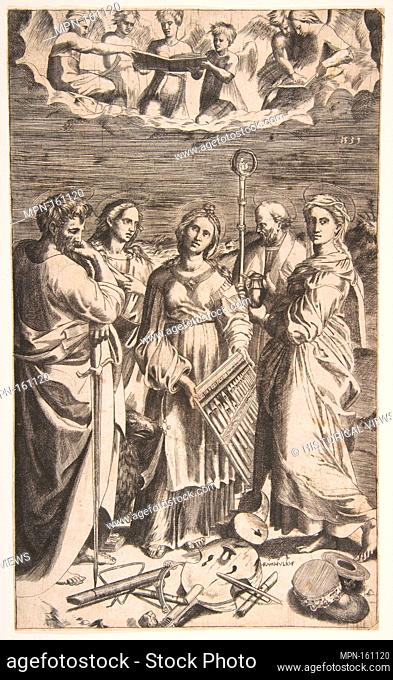 Saint Cecilia standing in the centre accompanied by Saint Paul, the Magdalene, Saint John the Evangelist, and Saint Augustine