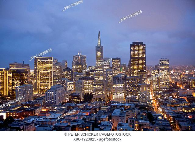 Downtown San Francisco Skyline seen from Coit Tower, California, United States of America, USA