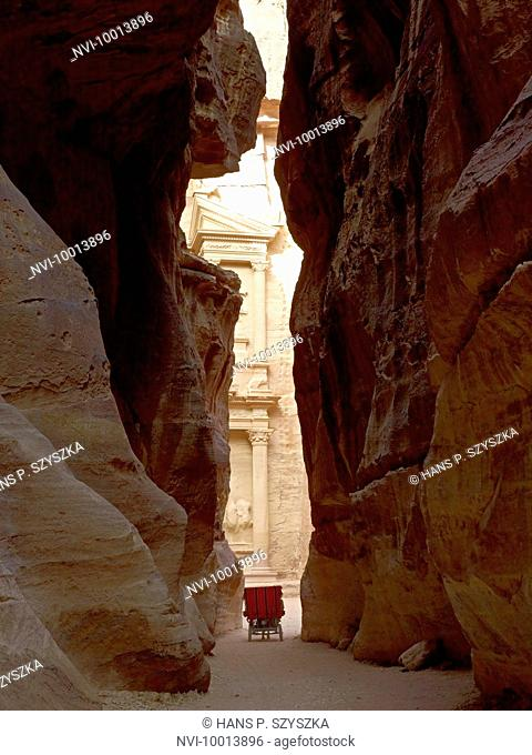 The Treasury or the Khazneh with siq of archaeological city Petra, Jordan, Middle East