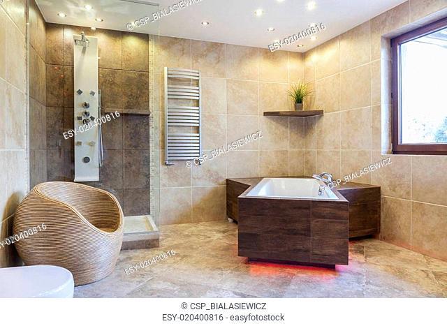 Big bathtub in a bathroom