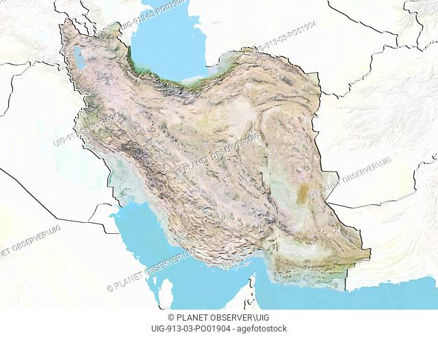 Relief map of Iran with border and mask. This image was compiled from data acquired by landsat 5 & 7 satellites combined with elevation data