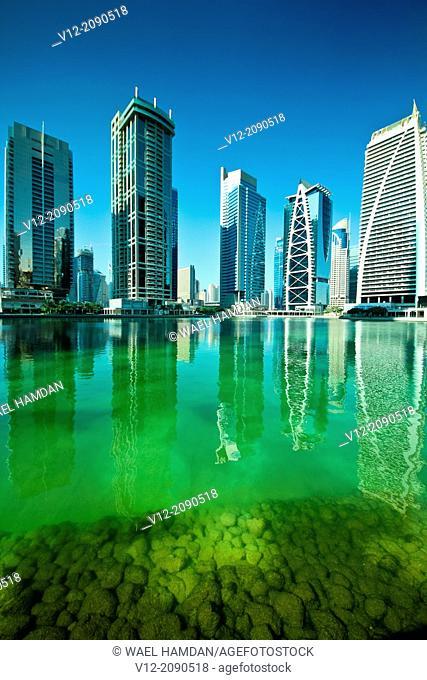 Modern high-rise apartment towers at Jumeirah Lakes Towers JLT at Dubai, UAE