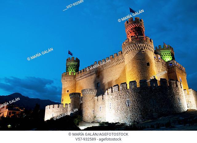 Castle at night. Manzanares El Real, Madrid province, Spain