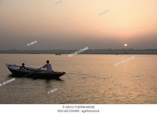 Sunrise at river Ganges, Varanasi, Benares, Uttar Pradesh, India