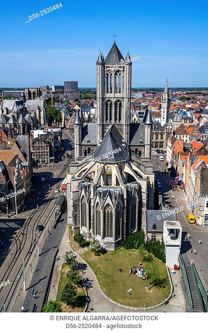 Elevated view over the centre of Ghent with the ornate architecture of Sint-Niklaaskerk church featuring in the centre