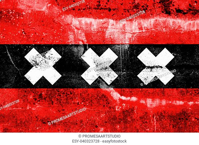 Amsterdam City Flag painted on grunge wall