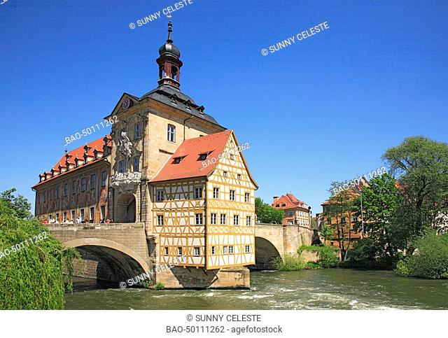 Historical townhall at river Regnitz, Bamberg, Bavaria, Germany, , Bamberg is an UNESCO World Heritage Site