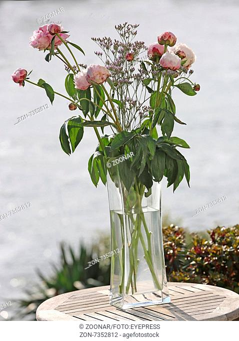 Bunch of peonies in a glas vase