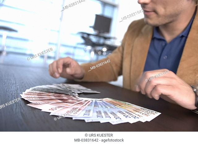 Man, Euro bills, diversified,  counts, detail, fuzziness,   Series, businessman, entrepreneurs, Euro, bills cash, finances, re-count incomes