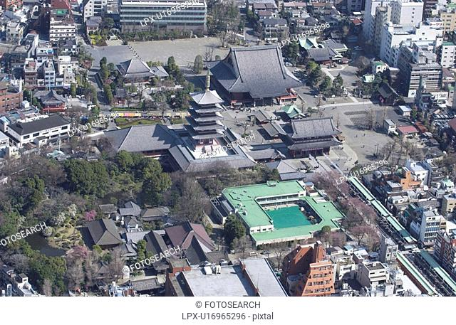 Senso-ji Temple, Aerial View, Pan Focus