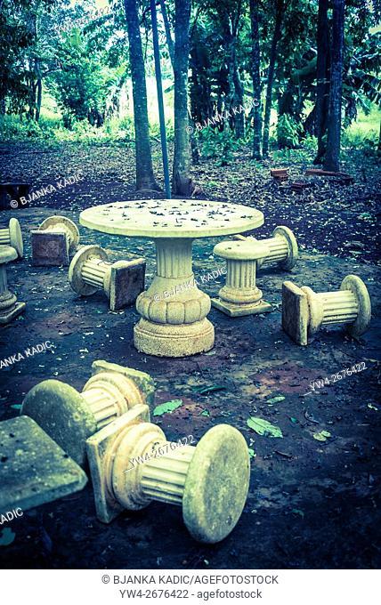 Fallen columns, picnic chairs