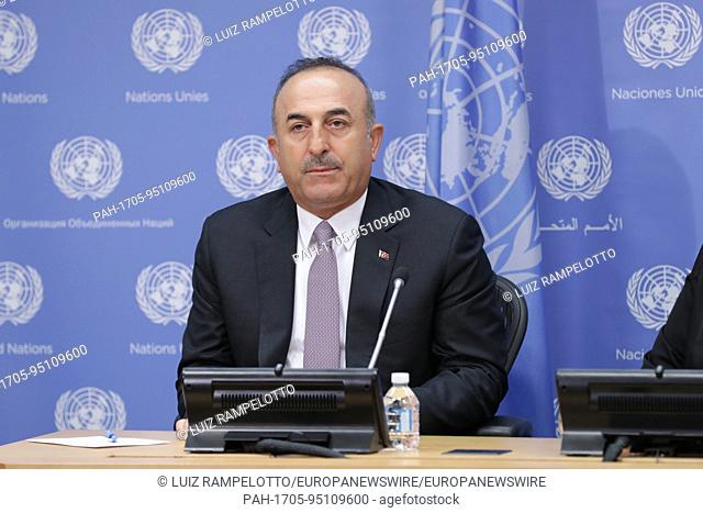 United Nations, New York, USA, September 22 2017 - Turkeys Foreign Minister, Mevlut Cavusoglu briefs journalists on the signing of the Host Country Agreement...