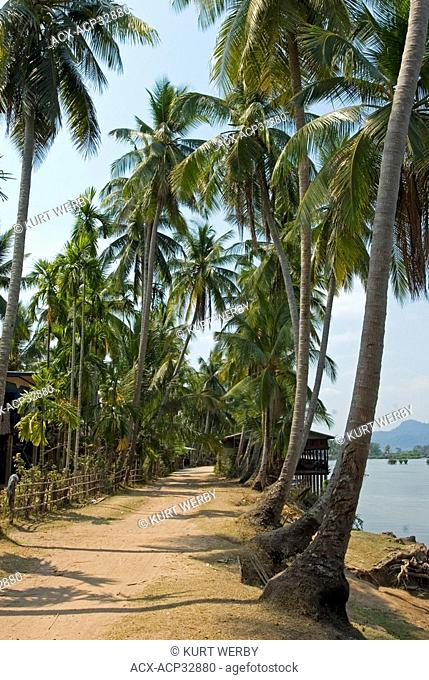 A walking path around the island of Don Khon at Si Phan Don 4000 Islands on the Mekong River in Southern Laos