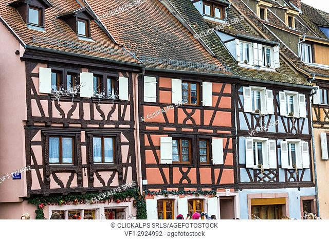 Typical architecture in the old medieval town Petite Venise Colmar Haut-Rhin department Alsace France Europe