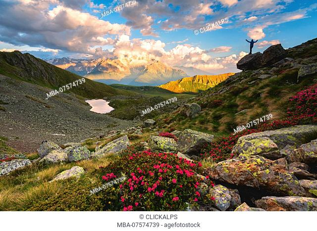 Grom lake at sunset, Mortirolo pass in Lombardy district, Brescia province, Italy