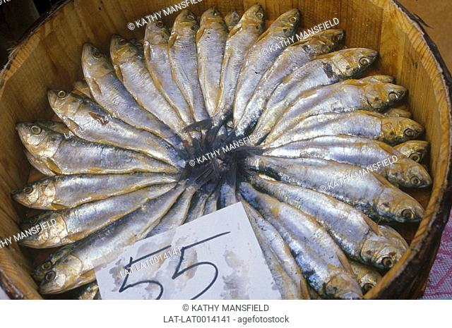 Fresh fish for sale at Wednesday local market. Price tag. Central Mallorca