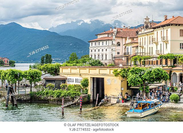 Shipping Pier at Isola Bella, Lago Maggiore, seen from the lakeside, Piemont, Italy