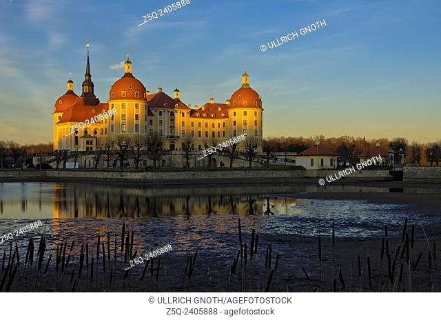 Moritzburg Castle near Dresden, Saxony, Germany, at sunset as seen as from the South