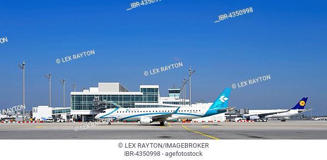 Air Dolomiti and Lufthansa Airbus, satellite, Terminal 2, Munich, Bavaria, Airport, Germany