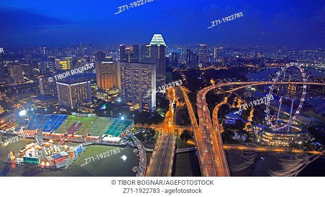 Singapore, Marina district, East Coast Parkway, Singapore Flyer