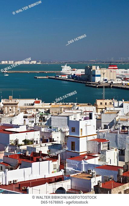 Spain, Andalucia Region, Cadiz Province, Cadiz, elevated city view from the Torre de Poniente of the Cathedral