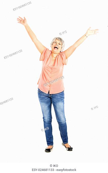 Portrait of a happy elderly woman with arms on the air, isolated on a white background