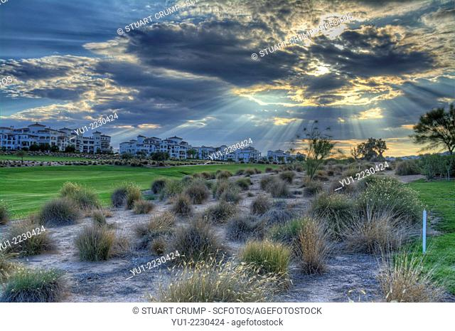 HDR of Storm clouds over the golf course at Hacienda Riquelme Golf Resort, Murcia, Spain