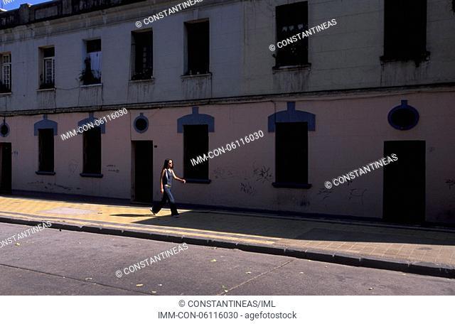 Centre, Colonial building, woman walking Santiago, Chile, South America
