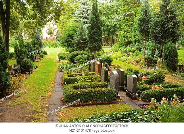 Tombstones in the Friedhof der SophienGemeinde. Protestant Cemetery. Berlin-Mitte. Berlin, Germany, Europe