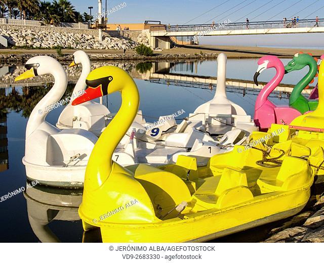 Pedal boats. Fuengirola, Malaga province, Costa del Sol, Andalusia, Spain Europe