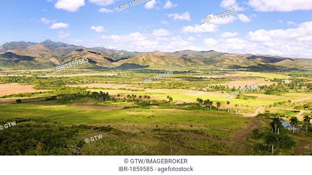 Landscape of the Valle de los Ingenios, Valley of the sugar refineries, Trinidad, Unesco World Heritage Site, Sancti Spiritus Province, Cuba, Central America