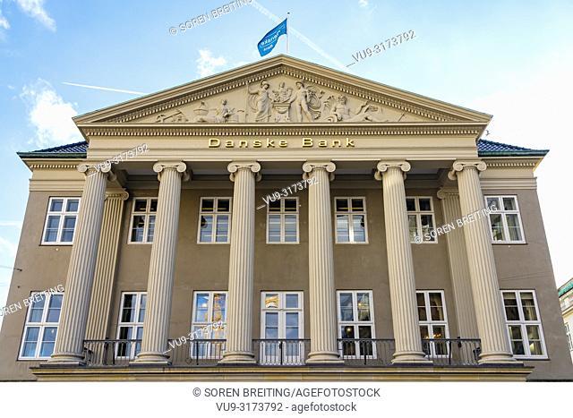 Danske Bank HQ headquarter in Copenhagen, Denmark, Kongens Nytorv, - Danish Bank scandal whitewashing Russian money in its branch in Latvia