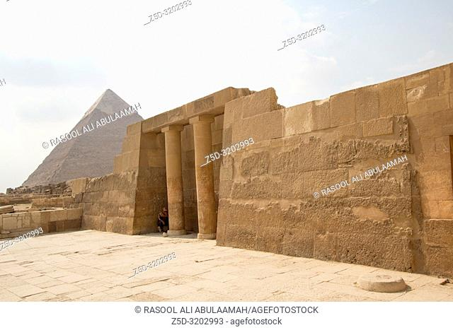Cairo, Egypt – November 12, 2018: photo for Pyramid of Khufu in the Pyramids of Giza in Cairo city capital of Egypt. and Egyptian monuments showing the...