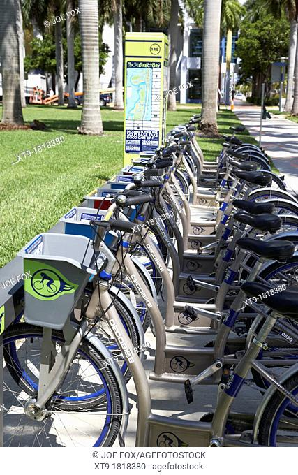 bike rental station deco bike miami south beach florida usa