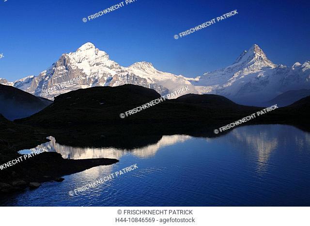 Swiss Alps, reflection, Bachalpsee, lake, water, Wetterhorn, Schreckhorn, fog, clouds, summer, First, silhouettes, Gri