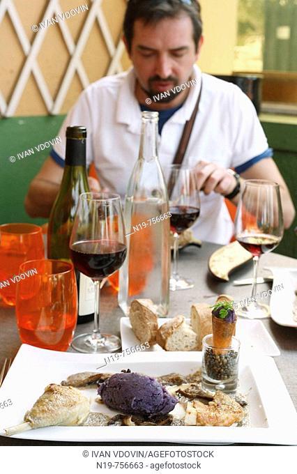 Traditional meals in restaurant, Tournus, Burgundy, France