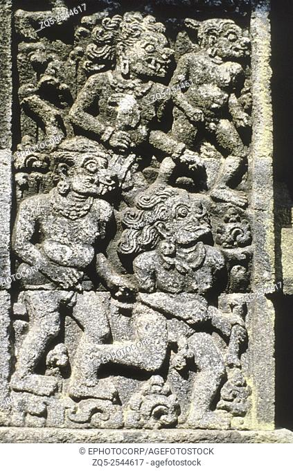 Java- Panataran, Main temple, first terrace Ramayana legend, Demons. 1323-47 A. D