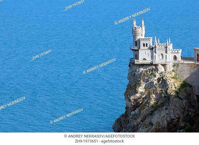 Built in 1912, the Swallow's Nest is one of the Neo-Gothic chateaux, Cape of Ai–Todor, The Greater Yalta, Crimea, Ukraine, Eastern Europe