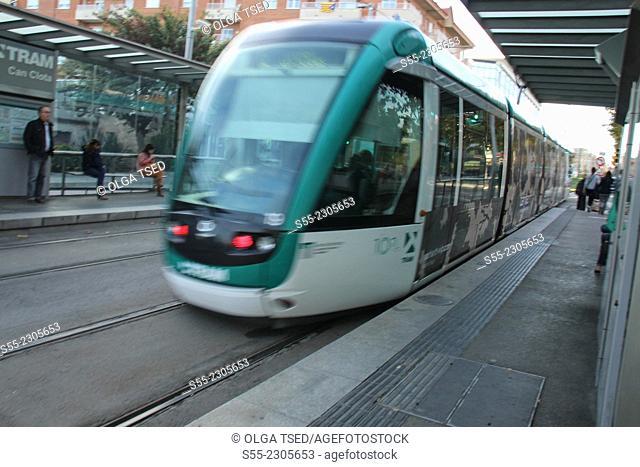 Tram, Can Clota, Esplugues de Llobregat, Barcelona province, Catalonia, Spain