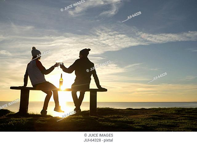Silhouette of couple, making a toast with wine glasses, against sunset over the ocean