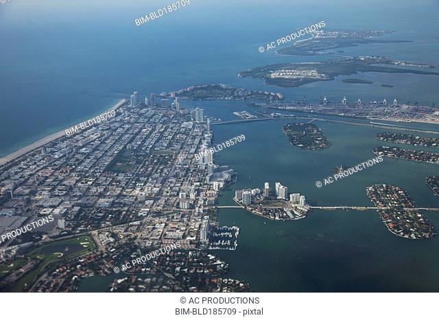 Aerial view of Miami Beach cityscape and harbor, Florida, United States
