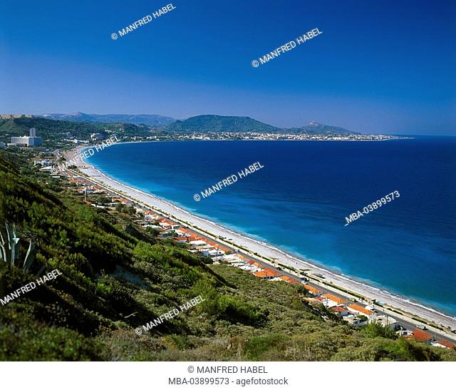 Greece, Dodekanes, island Rhodes, Trianda-Bucht, coast-landscape, places, beaches, lake, overview, Aegean, Meeresküste, coast, landscape, destination, bay