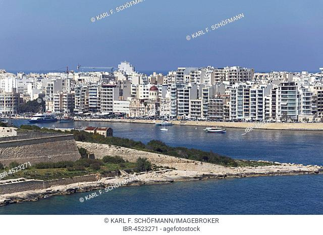 Manoel Island and panorama of Sliema, view from Valletta, Malta