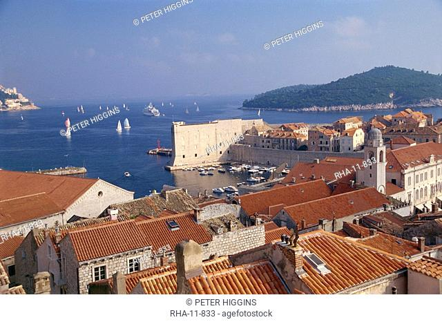 Roofs of Old City, UNESCO World Heritage Site, and the Island of Lokrum, Dubrovnik, Croatia, Europe