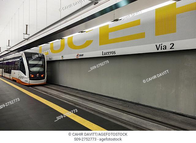 Luceros Tram Station and tram, platform 2, Luceros, Alicante, Comunidad Valenciana, Spain