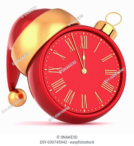 Happy New Year alarm clock bauble Christmas ball ornament decoration Santa hat icon red gold. Wintertime midnight countdown future beginning symbol souvenir