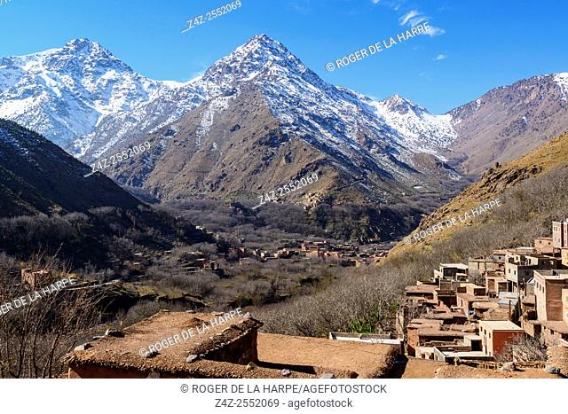 High Atlas Mountains showing Ber Ber (berber or Bier Bier) villages and homes. Imlil. Morocco